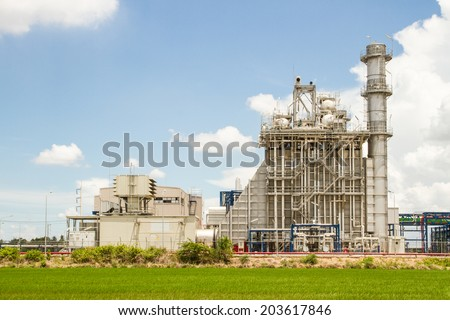 Power factory,power plant with green rice. - stock photo