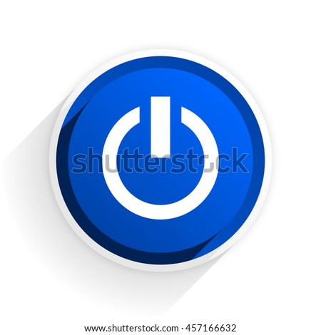 power flat icon with shadow on white background, blue modern design web element