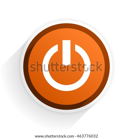 power flat icon with shadow on white background, orange modern design web element