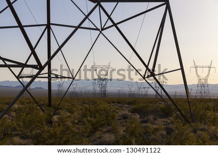 Power from these lines travels from a solar power plant in boulder city, Nevada to cities in California.
