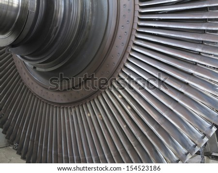 Power generator steam turbine during repair process at power plant - stock photo