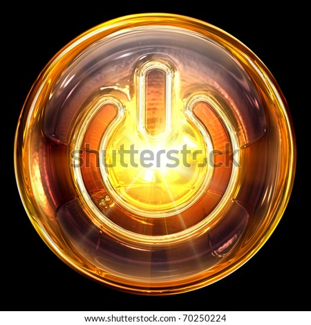 Power icon fire, isolated on black background - stock photo