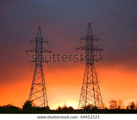 power line at sunset - stock photo
