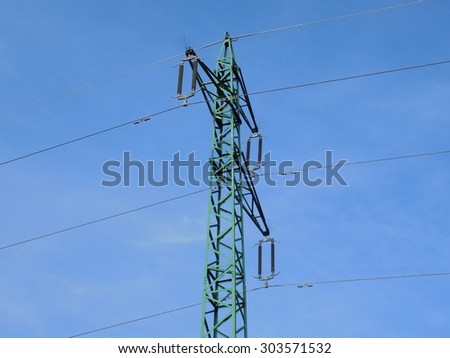 Power line column and blue sky