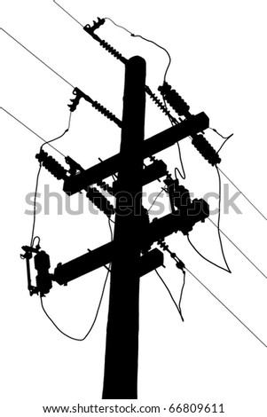 Power line, high tension silhouette - stock photo