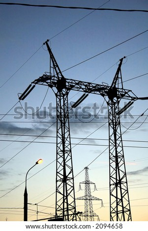 Power line, high voltage (industrial view) - stock photo