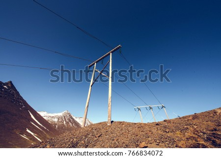 Power line in Iceland. Electricity.