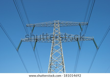 Power line under a clear sky