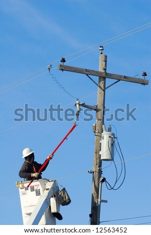 power lineman lift disconnecting breaker fuse stock photo. Black Bedroom Furniture Sets. Home Design Ideas