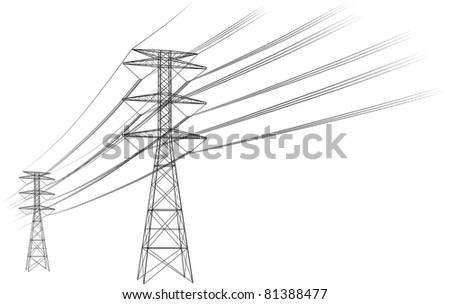 Power lines illustration - stock photo
