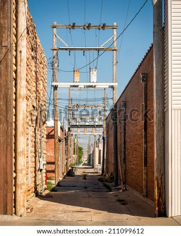 Power lines in an alley off Main Street in Hays, Kansas