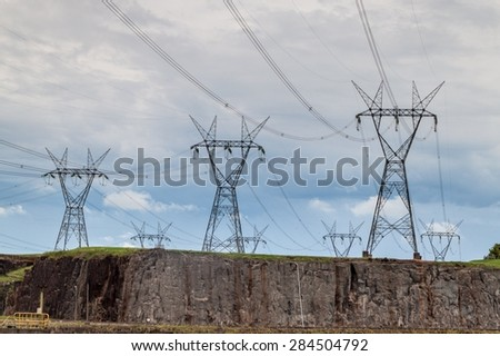 Power lines next to Itaipu dam on river Parana on the border of Brazil and Paraguay