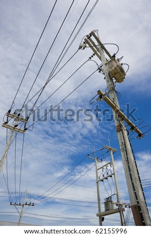 Power lines on the blue sky with cloudy background