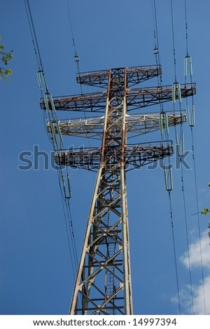 Power lines running over a pylon