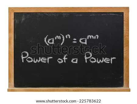 Power of a power written in white chalk on a black chalkboard isolated on white - stock photo