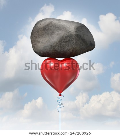 Power of love metaphor or heavy heart challenge concept as a red balloon shaped as the symbol for romance and relationships lifting up a huge rock. - stock photo