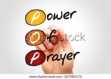 Power Of Prayer (POP), concept acronym - stock photo
