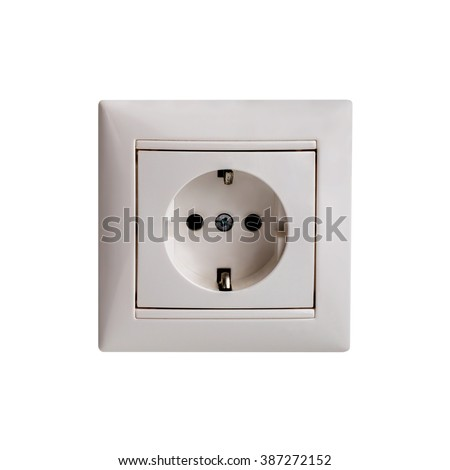 Power outlet and socket isolated. Plug socket. - stock photo