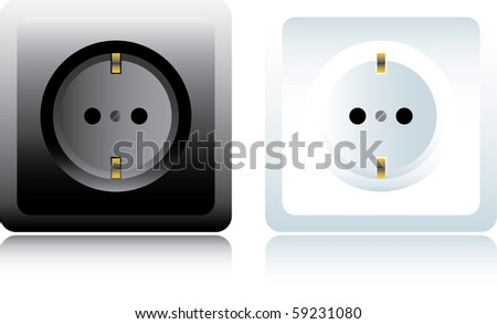 Power outlet. Black and white - raster version (vector available) - stock photo