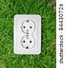 Power outlet in green grass - stock photo