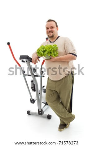 Power plan for fitness - overweight man's healthy choices, exercise and fresh food - isolated - stock photo