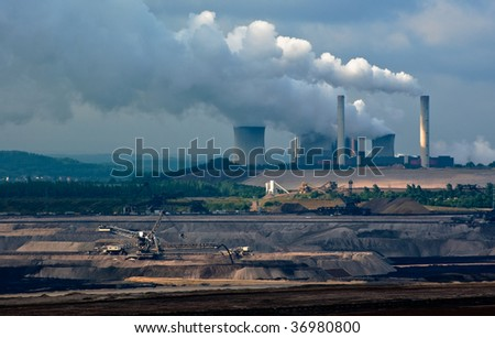 Power plant and coal open-pit in Rhineland, Germany - stock photo
