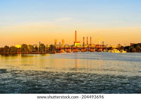 Power plant at dusk - stock photo