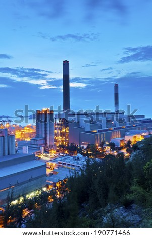Power plant at night - stock photo