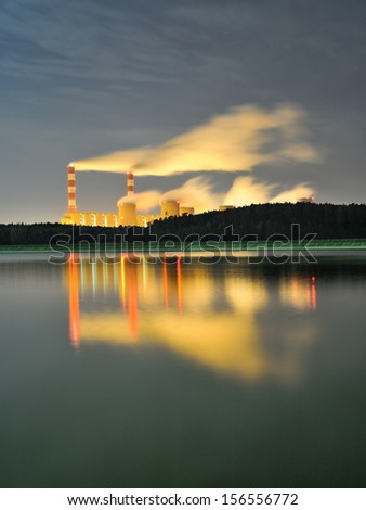 Power plant at night - Belchatow Poland. - stock photo