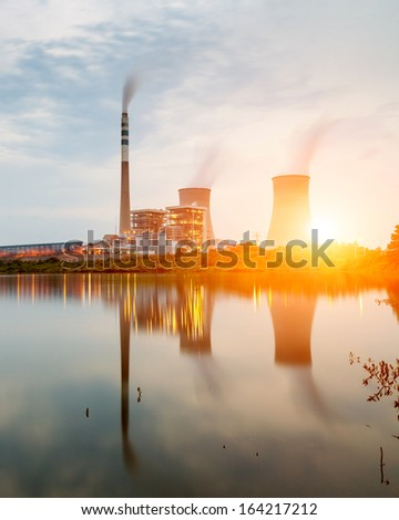 power plant by night