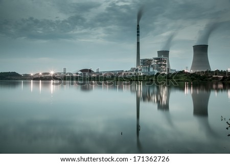 power plant by night - stock photo