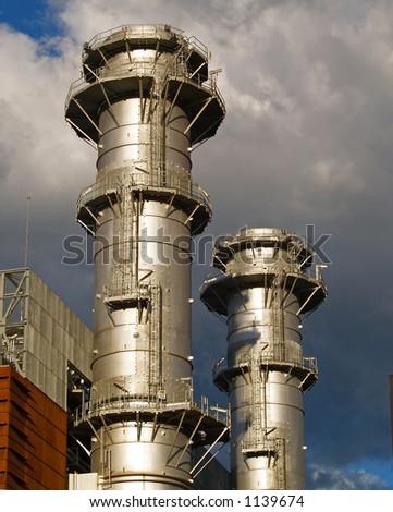Power plant chimneys - stock photo