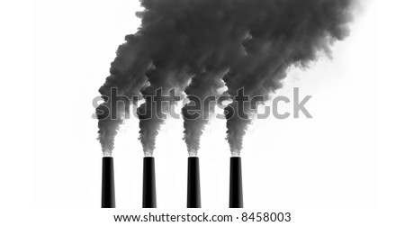 Power Plant emissions on white background - stock photo