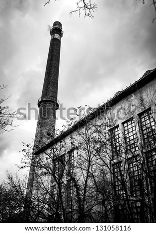 Power plant exterior with sky - stock photo
