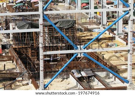Power plant foundation under construction - stock photo