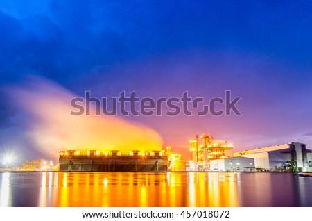 Power plant in rainy - stock photo