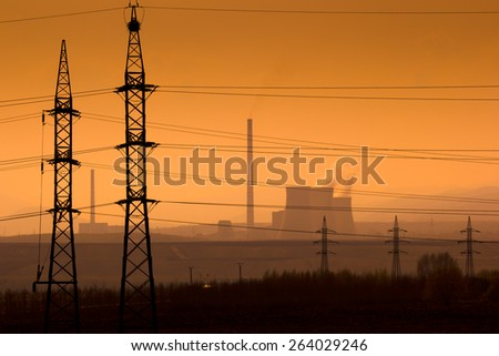 Power plant in the landscape - stock photo