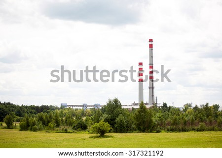 power plant on the background of nature