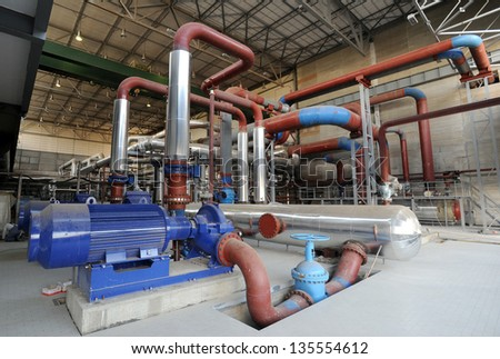 power plant pipeline - stock photo