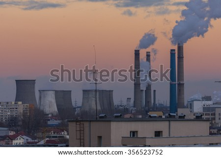Power plant polluting the environment  - stock photo