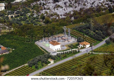 power plant, surrounded by vineyards. Aerial - stock photo