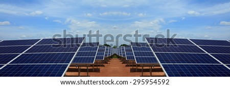 Power plant using renewable solar energy on blue sky cloud.Power plant using renewable solar energy with sun.