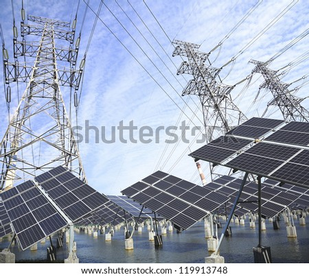 Power plant using renewable solar energy with sun and Power transmission tower