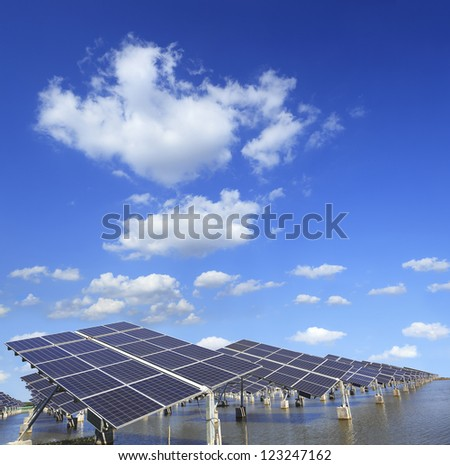 Power plant using renewable solar energy with.(Working path) - stock photo
