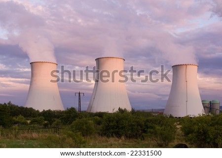power plant with cloudy sky