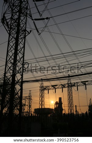 Power plants of silhouette style in the evening sunset.