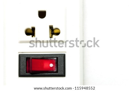 Power plug and safety switch - stock photo