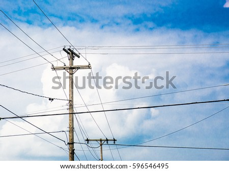 Power Poles Electrical Communication Wires Crossing Stock Photo ...