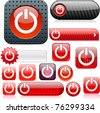Power red shiny set of buttons. - stock vector