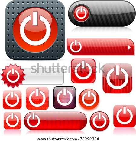 Power red shiny set of buttons. - stock photo